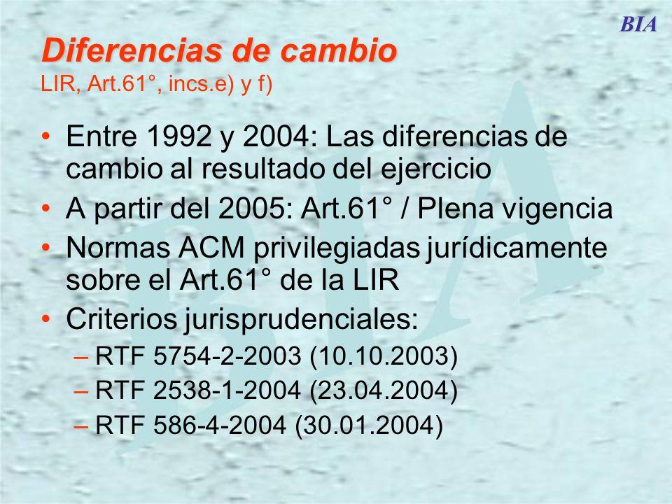 Diferencias de cambio LIR, Art.61°, incs.e) y f)