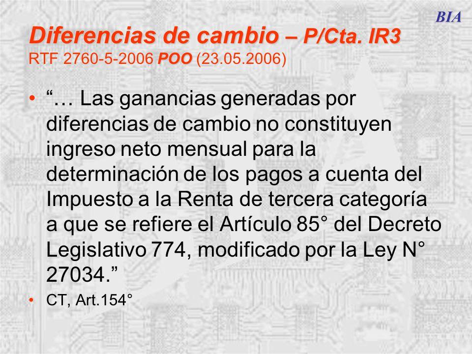Diferencias de cambio – P/Cta. IR3 RTF 2760-5-2006 POO (23.05.2006)