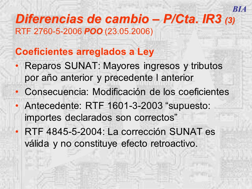 BIA Diferencias de cambio – P/Cta. IR3 (3) RTF 2760-5-2006 POO (23.05.2006) Coeficientes arreglados a Ley.