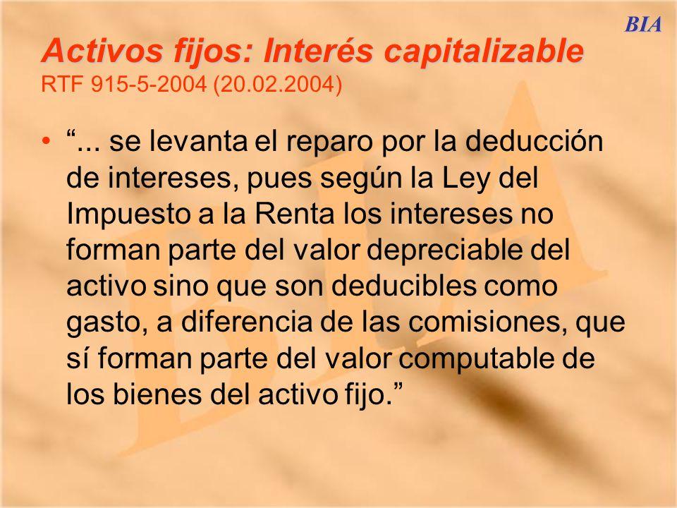 Activos fijos: Interés capitalizable RTF 915-5-2004 (20.02.2004)