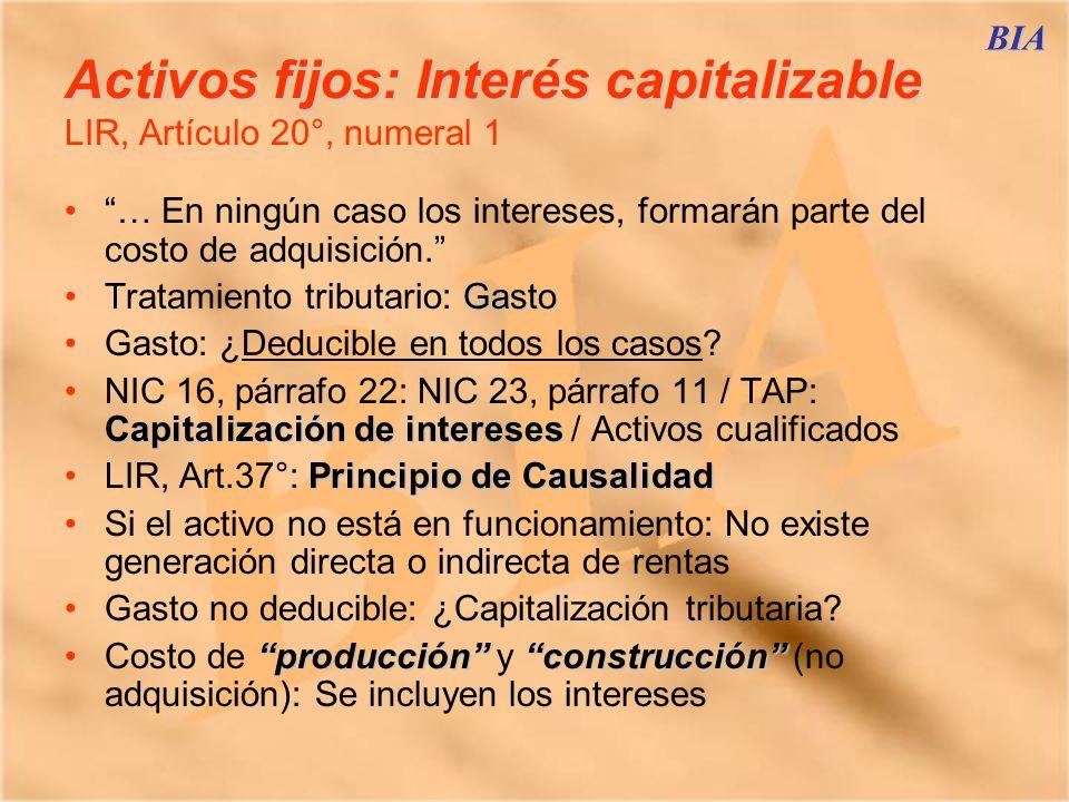 Activos fijos: Interés capitalizable LIR, Artículo 20°, numeral 1