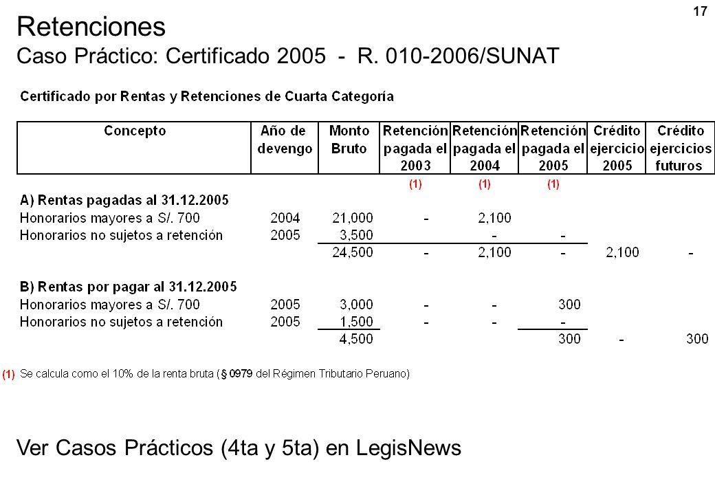 Retenciones Caso Práctico: Certificado 2005 - R. 010-2006/SUNAT