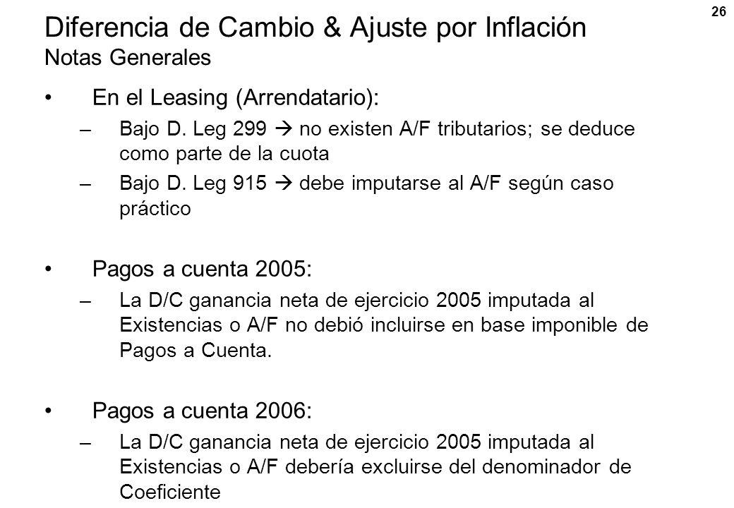 Diferencia de Cambio & Ajuste por Inflación Notas Generales