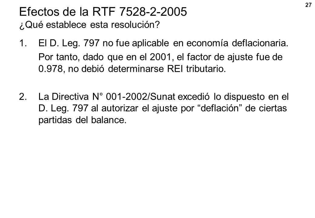 Efectos de la RTF 7528-2-2005 ¿Qué establece esta resolución