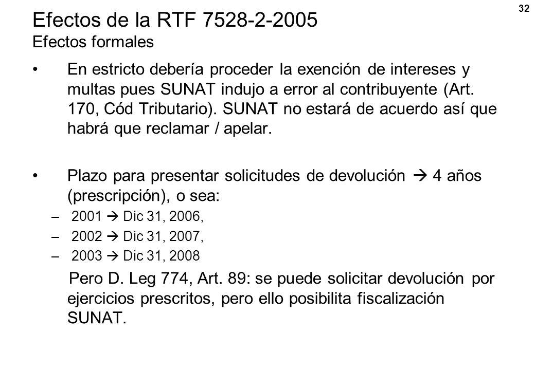 Efectos de la RTF 7528-2-2005 Efectos formales