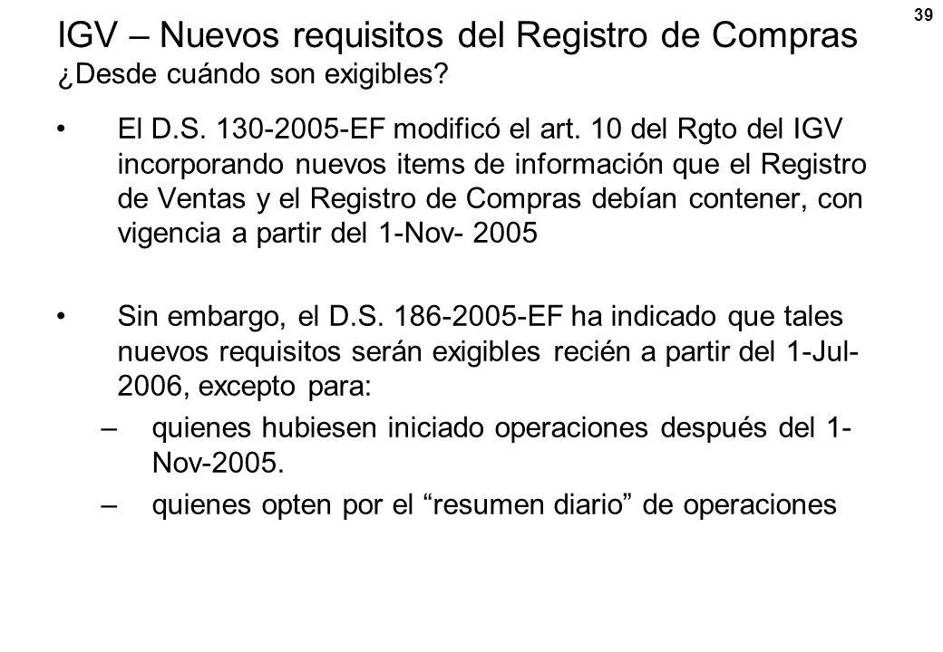 IGV – Nuevos requisitos del Registro de Compras ¿Desde cuándo son exigibles