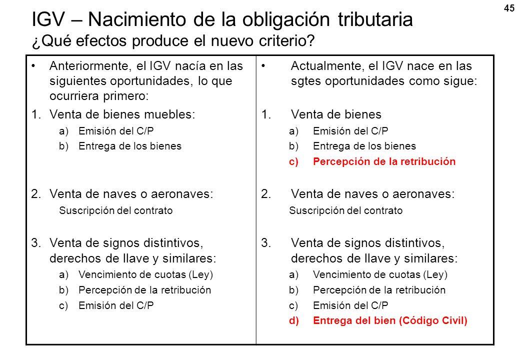 IGV – Nacimiento de la obligación tributaria ¿Qué efectos produce el nuevo criterio