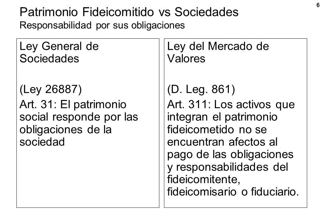 Patrimonio Fideicomitido vs Sociedades Responsabilidad por sus obligaciones