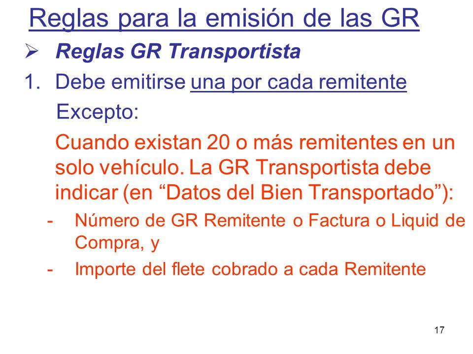 Reglas para la emisión de las GR