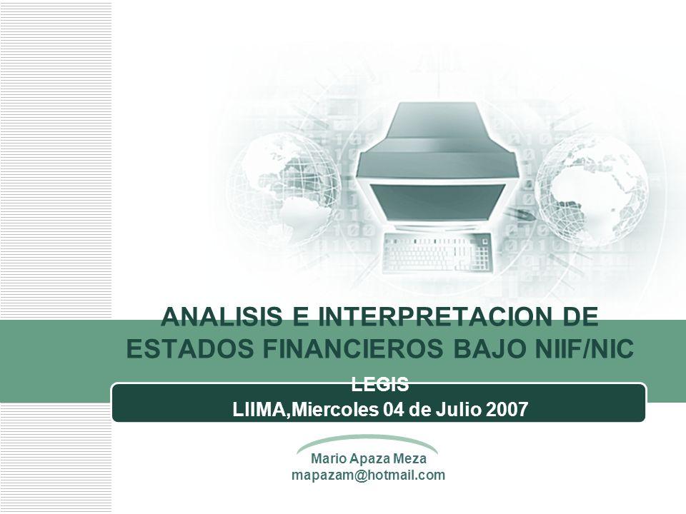 ANALISIS E INTERPRETACION DE ESTADOS FINANCIEROS BAJO NIIF/NIC