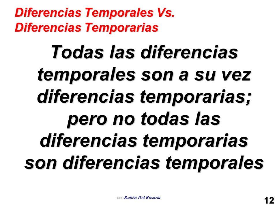Diferencias Temporales Vs. Diferencias Temporarias