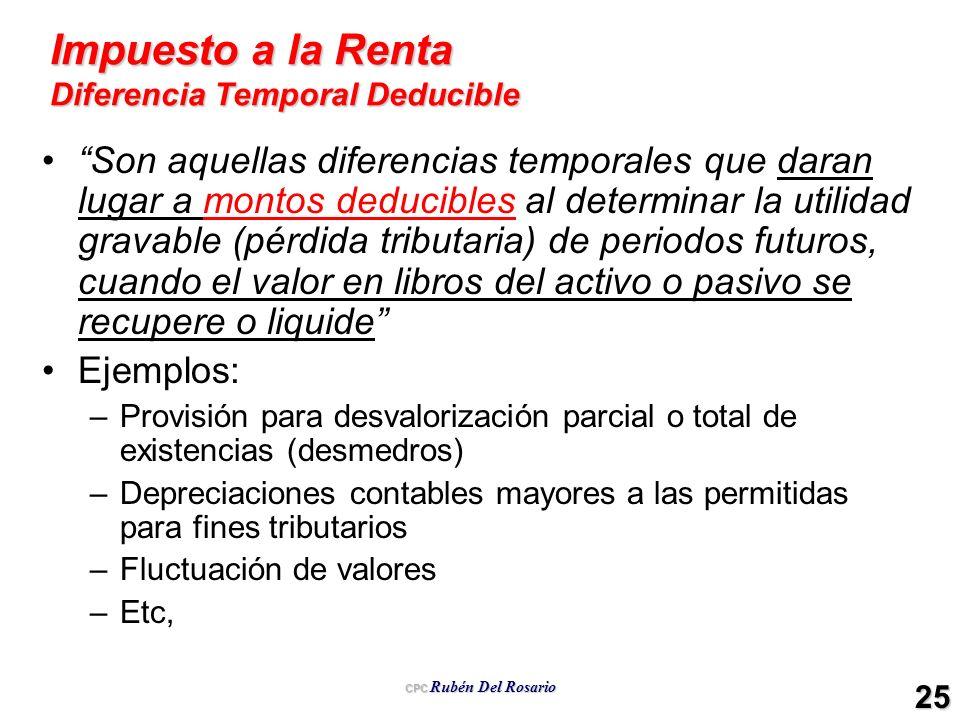 Impuesto a la Renta Diferencia Temporal Deducible
