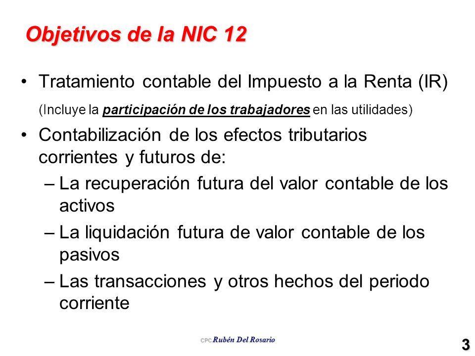 Objetivos de la NIC 12 Tratamiento contable del Impuesto a la Renta (IR) (Incluye la participación de los trabajadores en las utilidades)
