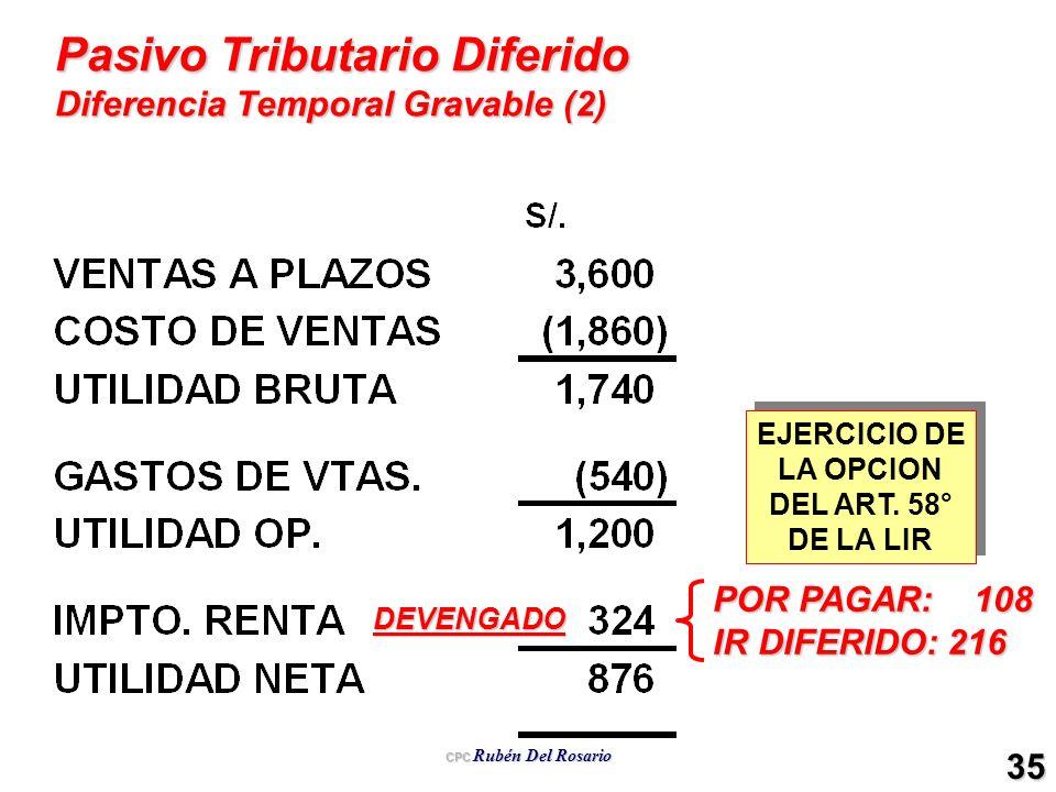 Pasivo Tributario Diferido Diferencia Temporal Gravable (2)