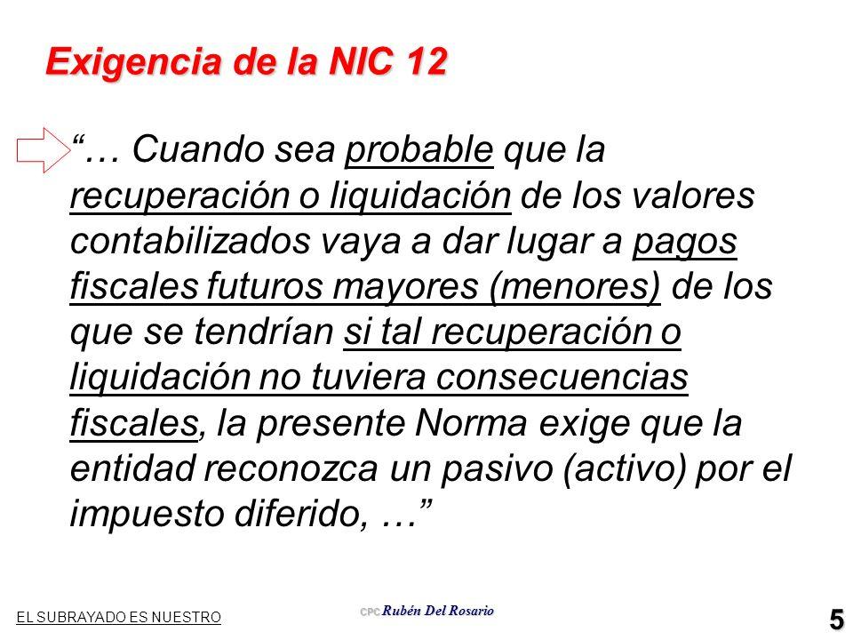 Exigencia de la NIC 12