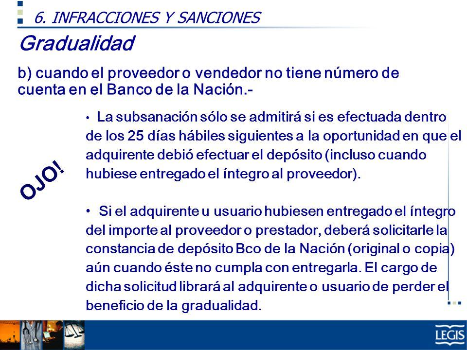 Gradualidad OJO! 6. INFRACCIONES Y SANCIONES