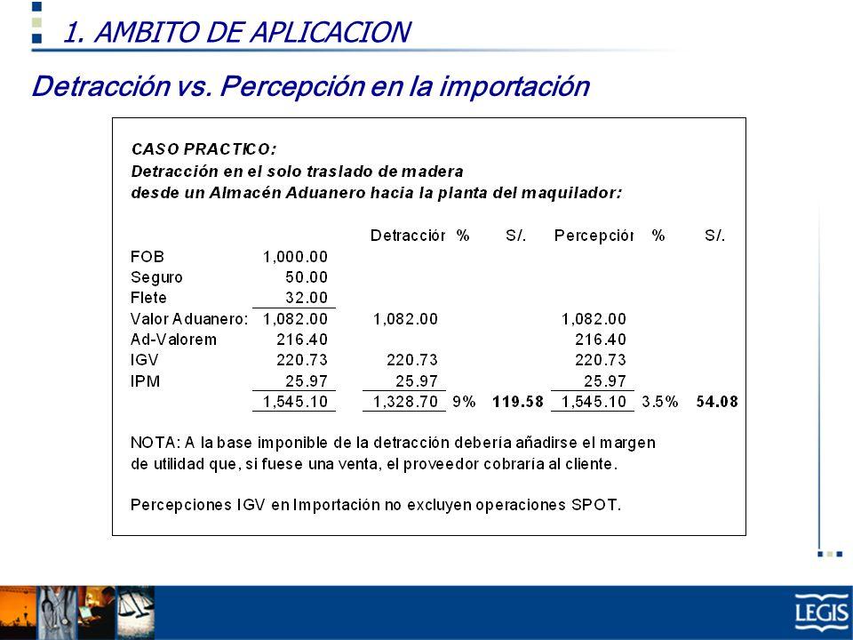 1. AMBITO DE APLICACION Detracción vs. Percepción en la importación