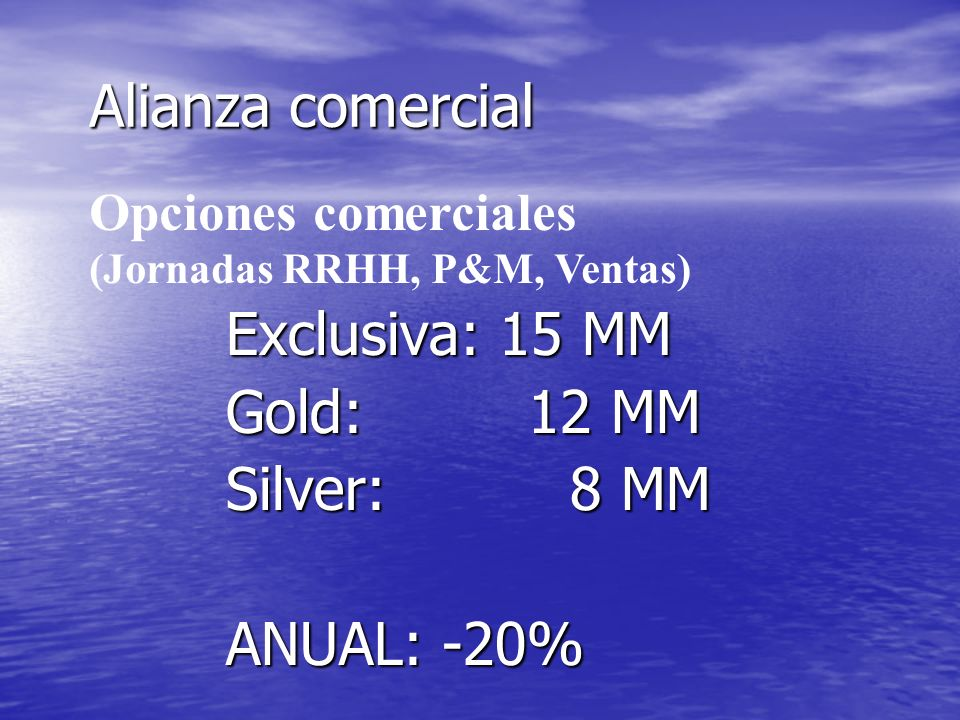 Alianza comercial Exclusiva: 15 MM Gold: 12 MM Silver: 8 MM
