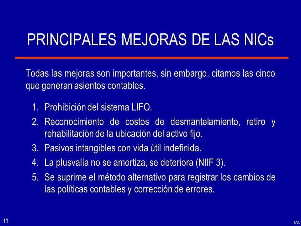 PRINCIPALES MEJORAS DE LAS NICs