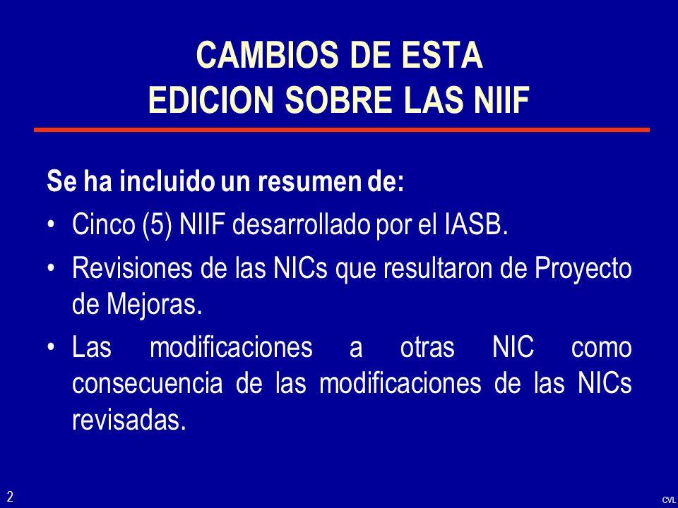 CAMBIOS DE ESTA EDICION SOBRE LAS NIIF