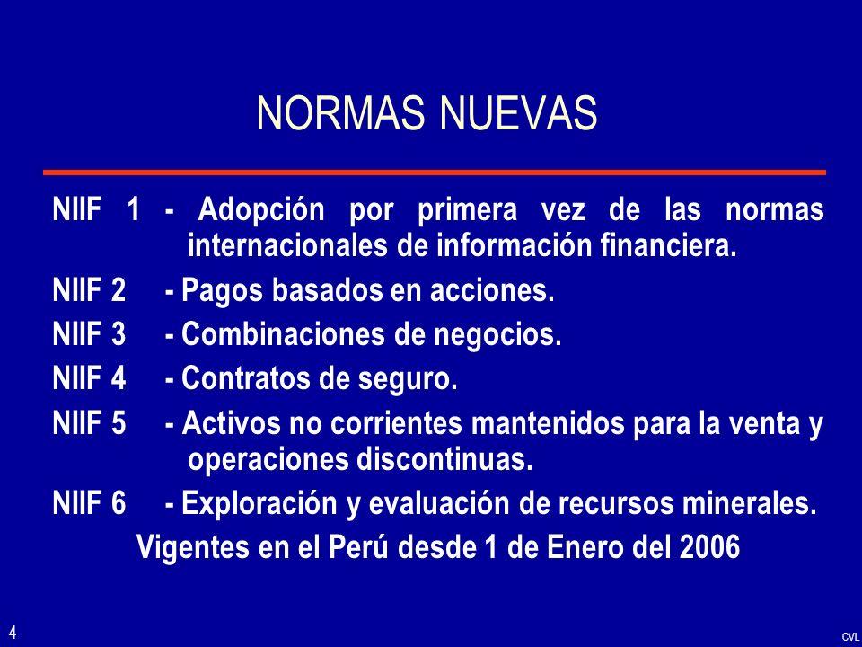 Vigentes en el Perú desde 1 de Enero del 2006