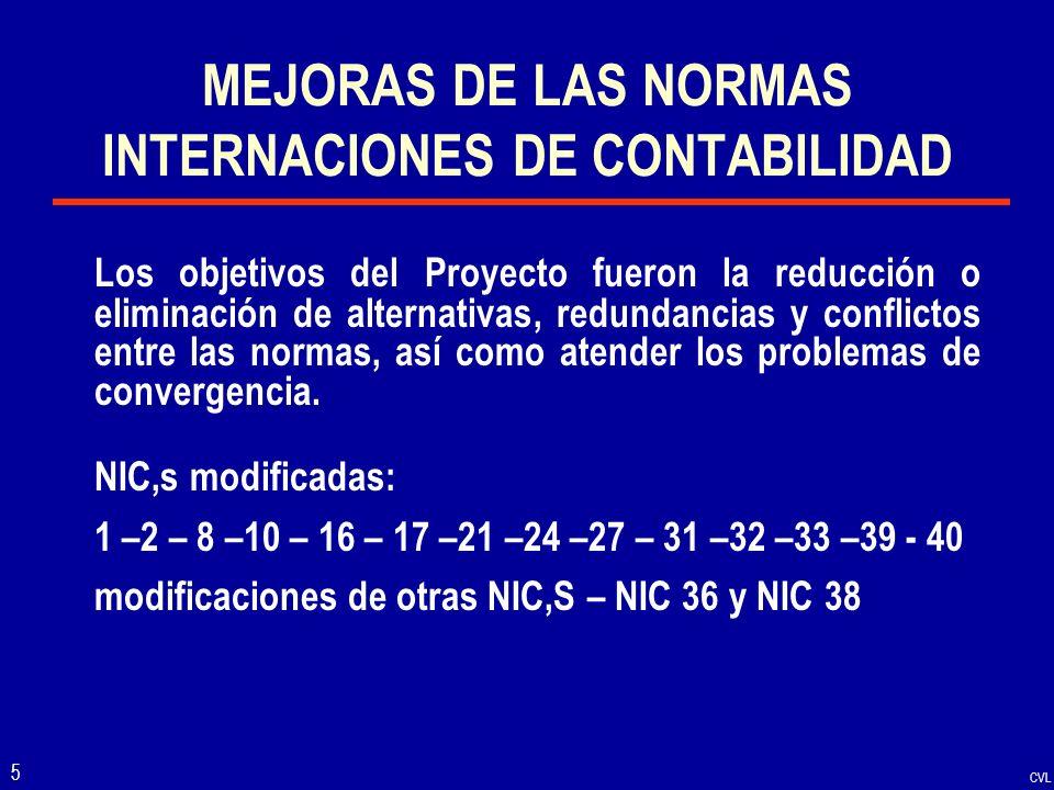 MEJORAS DE LAS NORMAS INTERNACIONES DE CONTABILIDAD