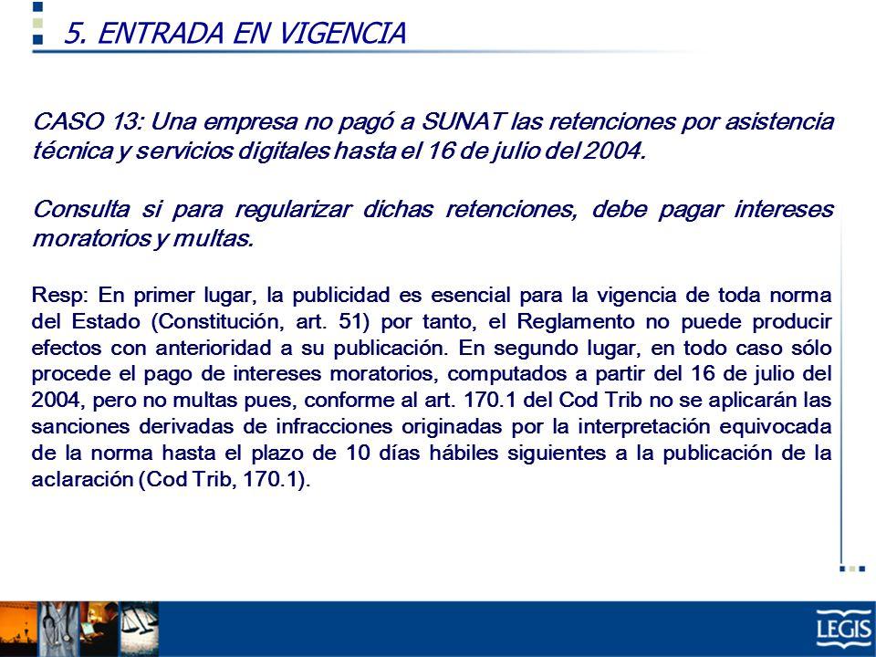 5. ENTRADA EN VIGENCIA