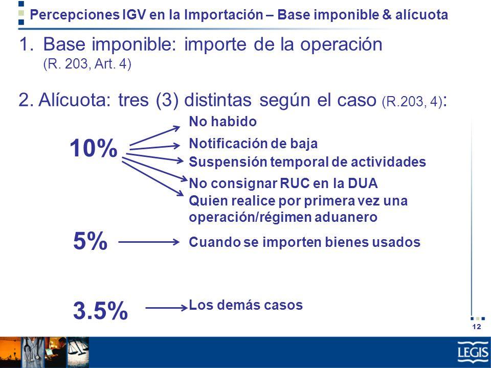 Percepciones IGV en la Importación – Base imponible & alícuota
