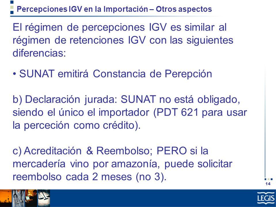 Percepciones IGV en la Importación – Otros aspectos