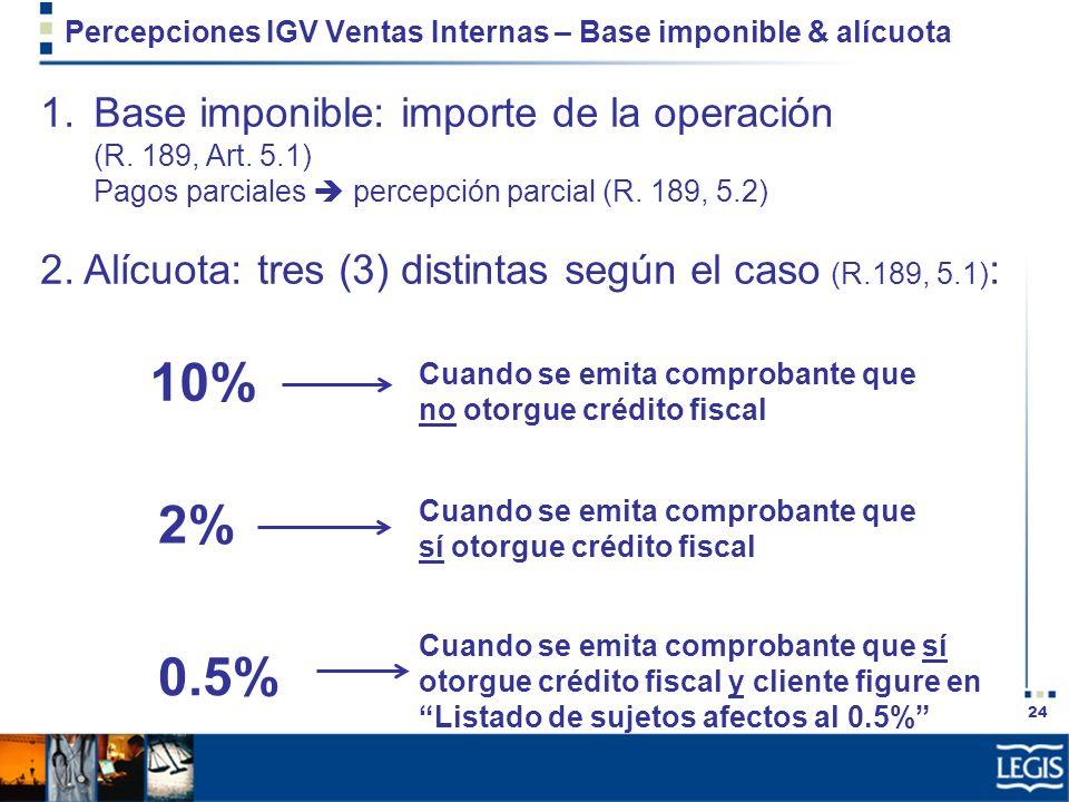 Percepciones IGV Ventas Internas – Base imponible & alícuota