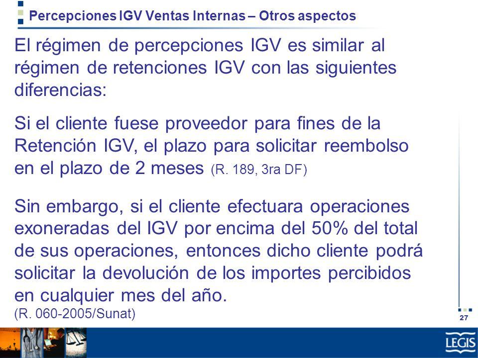 Percepciones IGV Ventas Internas – Otros aspectos