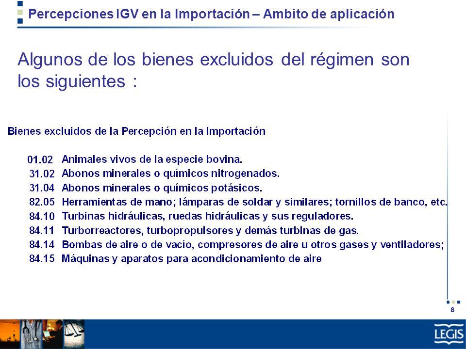 Percepciones IGV en la Importación – Ambito de aplicación