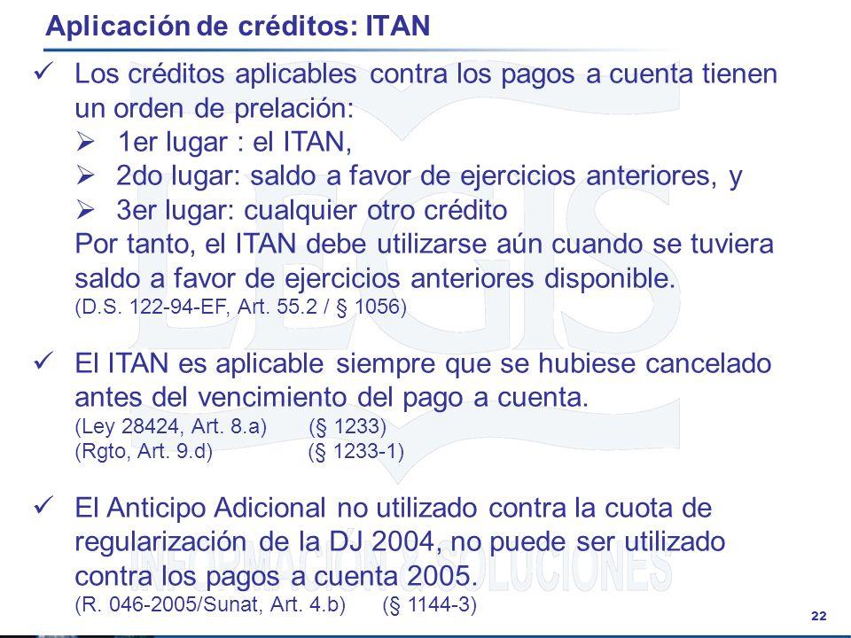 Aplicación de créditos: ITAN