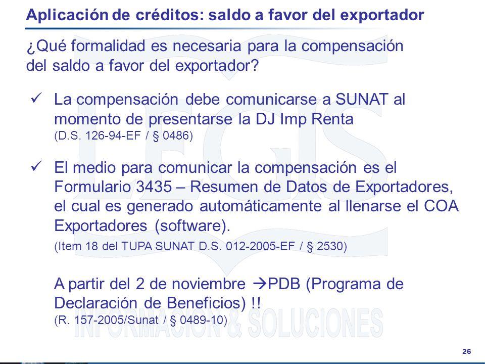 Aplicación de créditos: saldo a favor del exportador