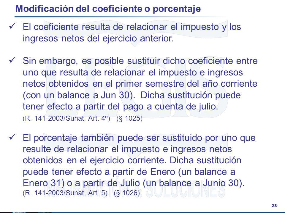 Modificación del coeficiente o porcentaje
