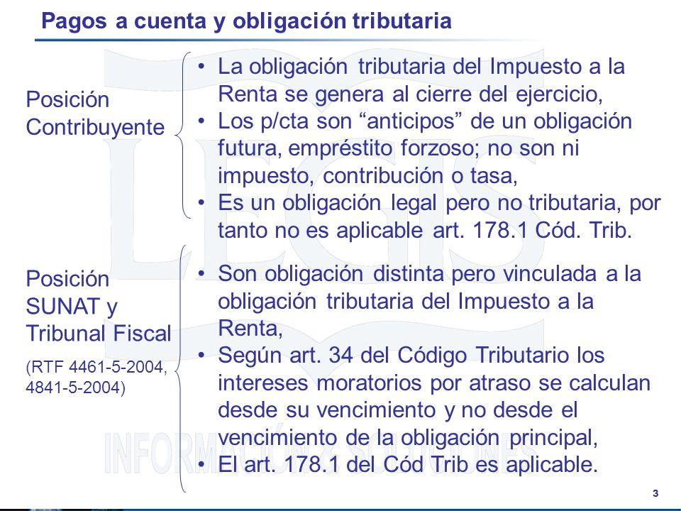 Pagos a cuenta y obligación tributaria