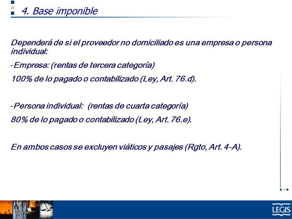 4. Base imponible Dependerá de si el proveedor no domiciliado es una empresa o persona individual: Empresa: (rentas de tercera categoría)