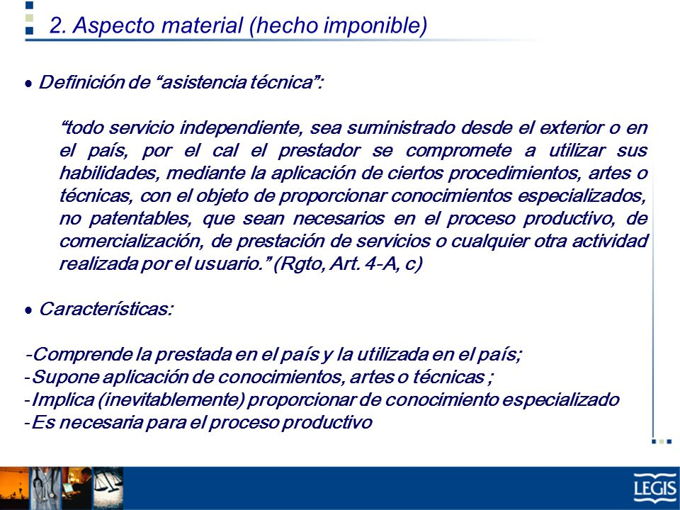 2. Aspecto material (hecho imponible)