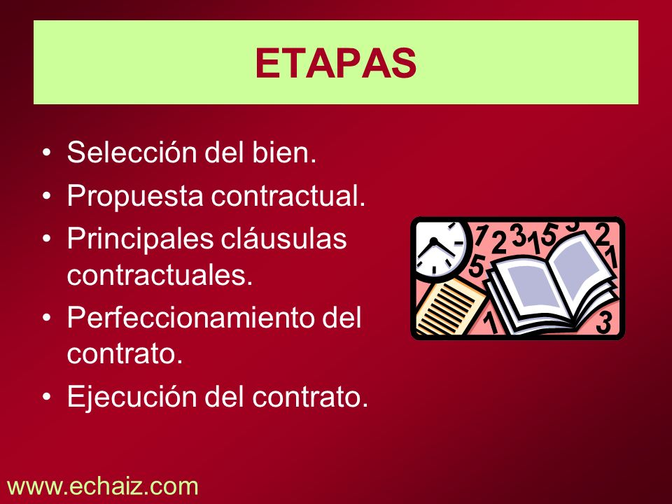 ETAPAS Selección del bien. Propuesta contractual.