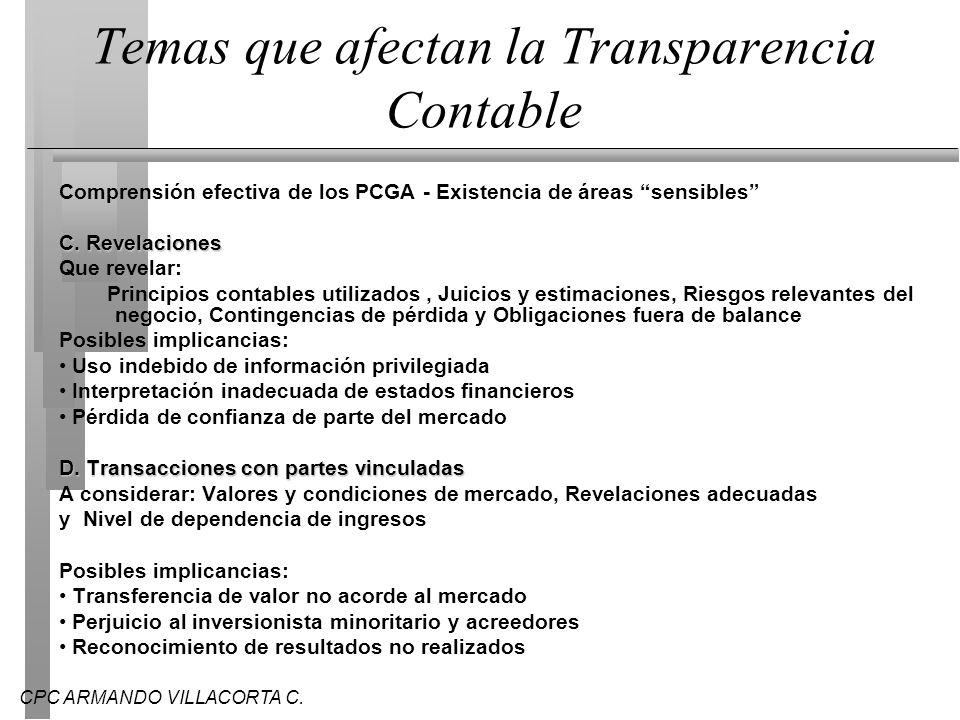 Temas que afectan la Transparencia Contable