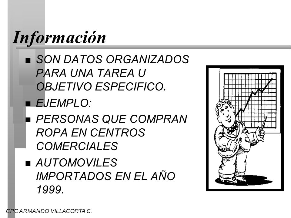 InformaciónSON DATOS ORGANIZADOS PARA UNA TAREA U OBJETIVO ESPECIFICO. EJEMPLO: PERSONAS QUE COMPRAN ROPA EN CENTROS COMERCIALES.