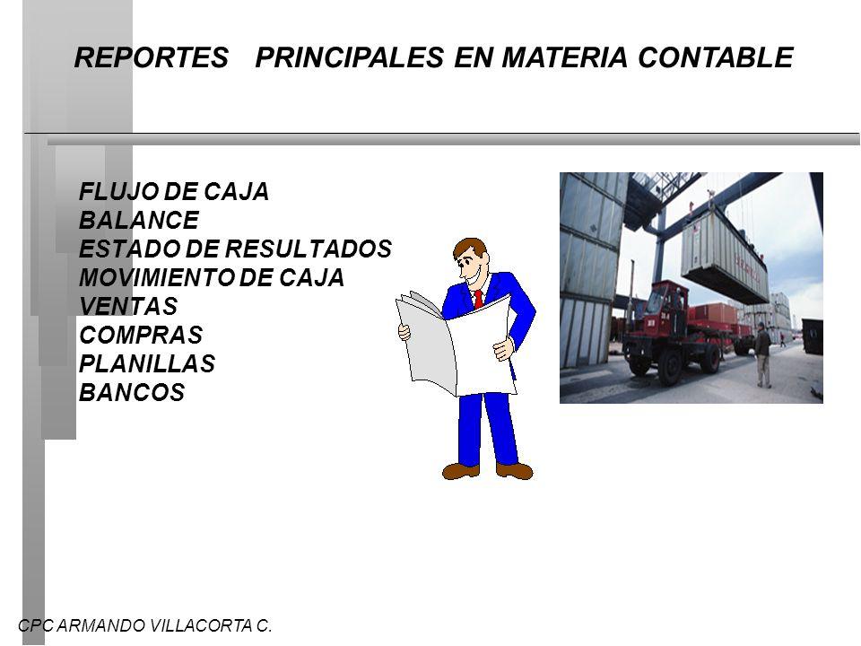 REPORTES PRINCIPALES EN MATERIA CONTABLE