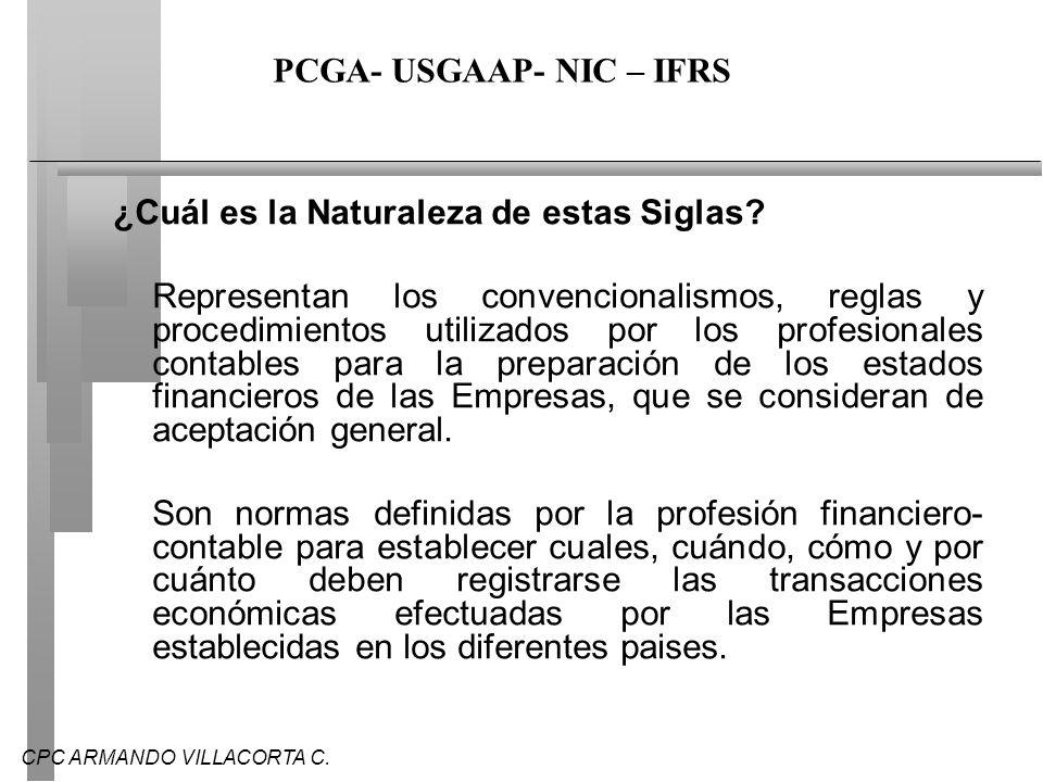 PCGA- USGAAP- NIC – IFRS
