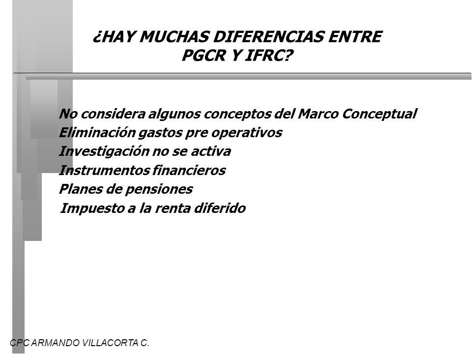 ¿HAY MUCHAS DIFERENCIAS ENTRE PGCR Y IFRC
