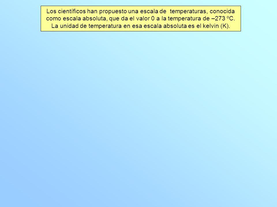 Los científicos han propuesto una escala de temperaturas, conocida como escala absoluta, que da el valor 0 a la temperatura de –273 ºC.