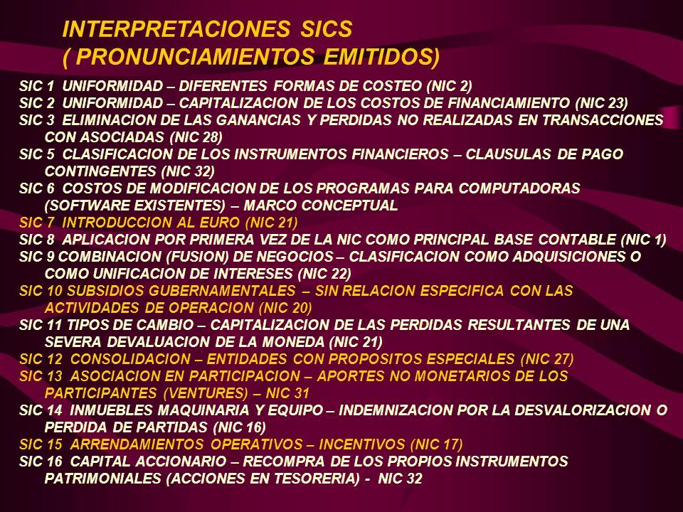 INTERPRETACIONES SICS ( PRONUNCIAMIENTOS EMITIDOS)