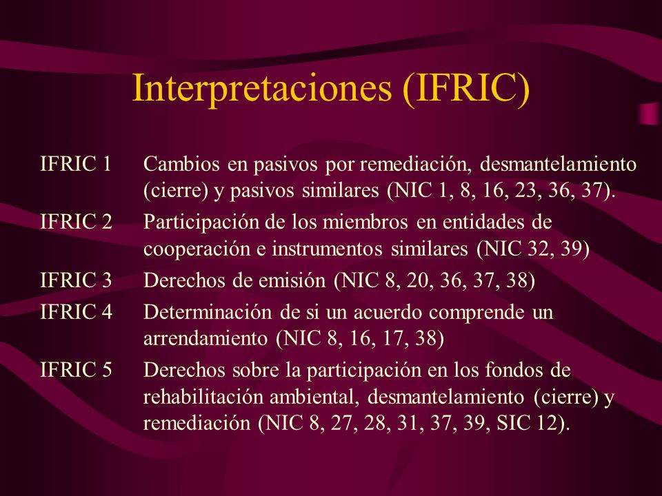 Interpretaciones (IFRIC)