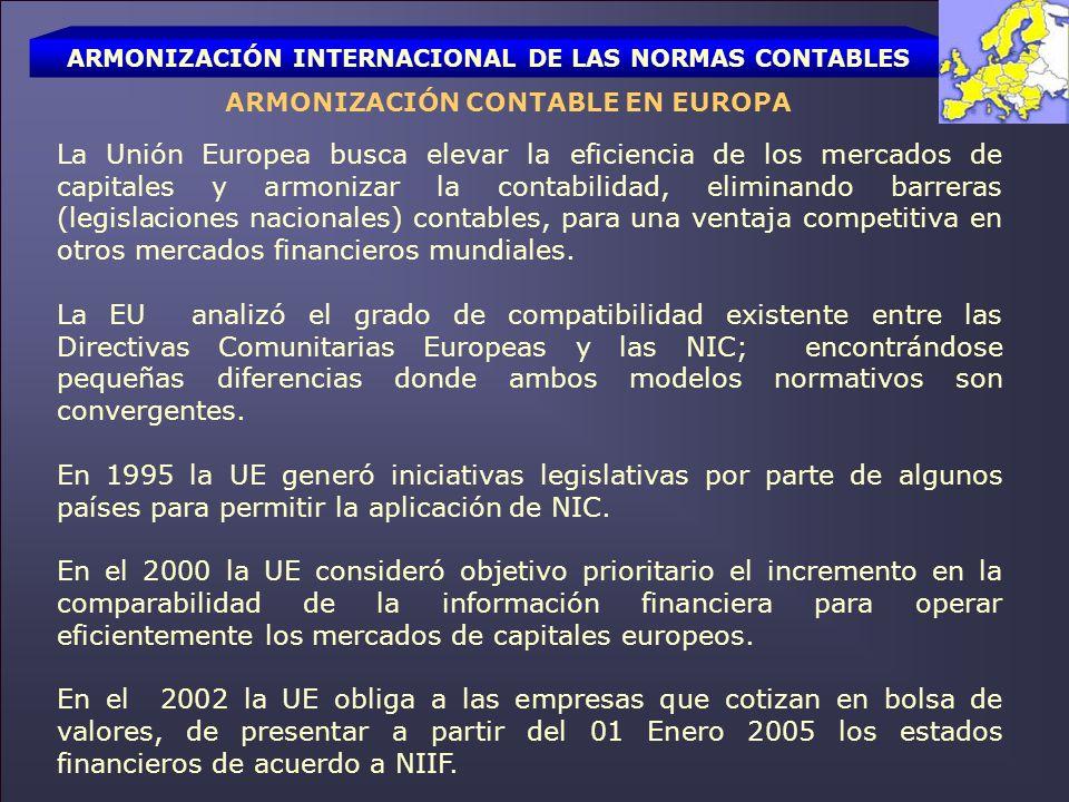 ARMONIZACIÓN INTERNACIONAL DE LAS NORMAS CONTABLES