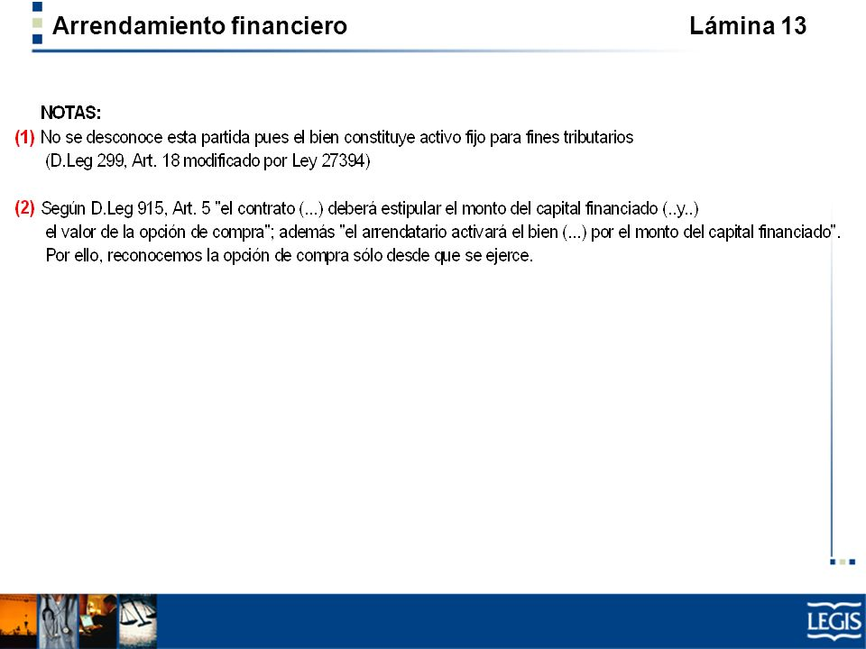 Arrendamiento financiero Lámina 13
