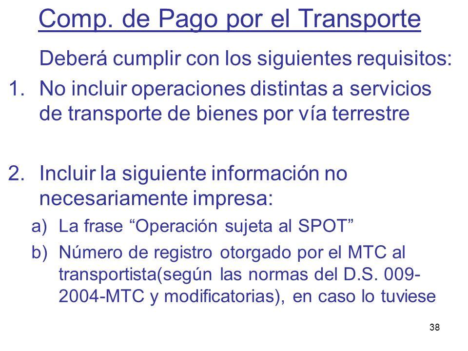 Comp. de Pago por el Transporte